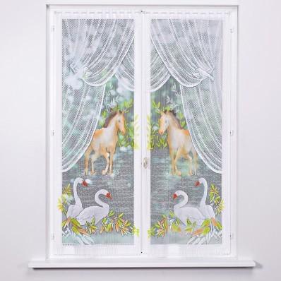 Vitrážové záclonky, kůň a labutě, sada 2 ks