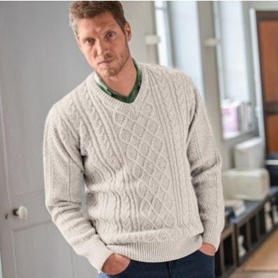 """Irský pulovr s výstřihem do """"V"""""""