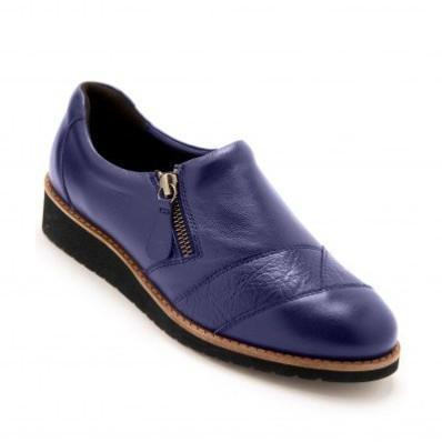 Kožené pohodlné topánky na klinovej podrážke, modré