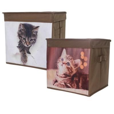 Úložný prostor s motivem kočky, sada 2 ks