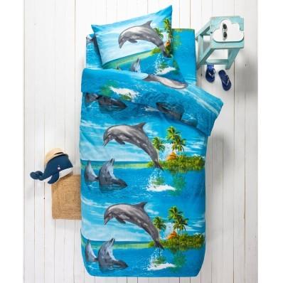 Detská posteľná bielizeň Flipper, polycoton, potlač s delfínmi
