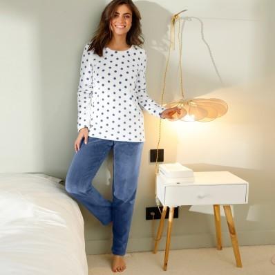Fleecové pyžamo, potlač bodiek