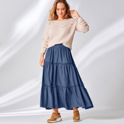 Volánová dlouhá sukně