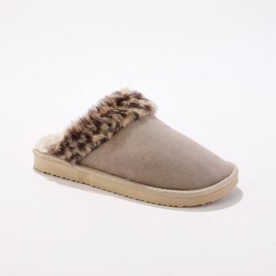 Pantofle s nepravou kožešinou a leopardím vzorem