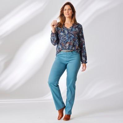 Jednobarevné kalhoty s efektem plochého bříška