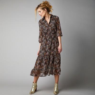Dlouhé šaty se žabičkovaným pasem a potiskem kytiček