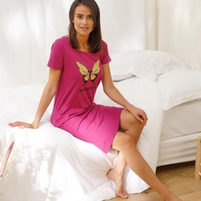 Krátka nočná košeľa s krátkymi rukávmi a potlačou motýlikov