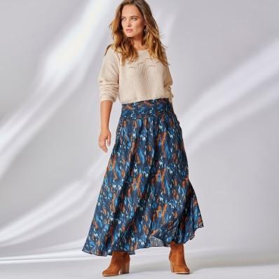 Dlouhá rozšířená sukně s potiskem