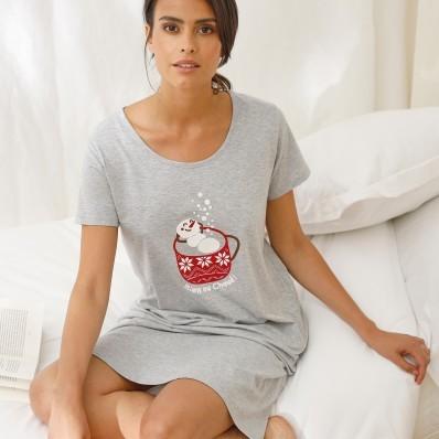 Krátka nočná košeľa s krátkymi rukávmi a potlačou horúcej čokolády