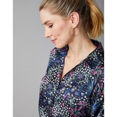 Saténová košile s květinovým vzorem