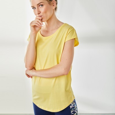 Jednofarebné tričko z bio bavlny, žlté