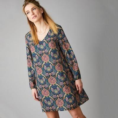 Krepové šaty s potiskem kašmíru