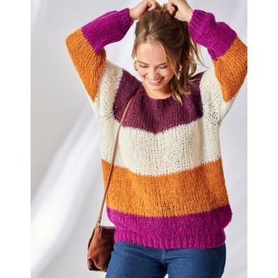 Pletený pulovr se širokými pruhy