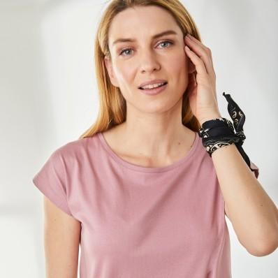 Jednofarebné tričko z bio bavlny, ružové drevo