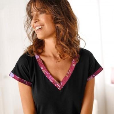 Bavlnená nočná košeľa so saténom