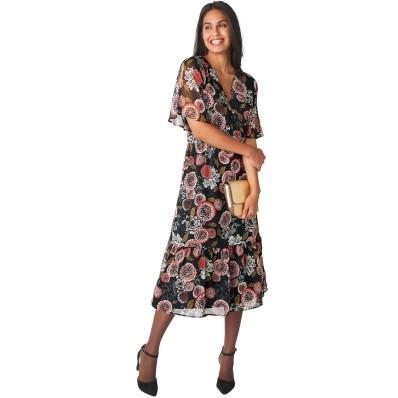 Polodlouhé šaty s překřížením a potiskem