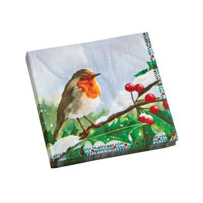 Papírové ubrousky s potiskem ptáčků, sada 20 ks