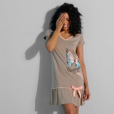 Jednobarevná noční košile s potiskem motýlů