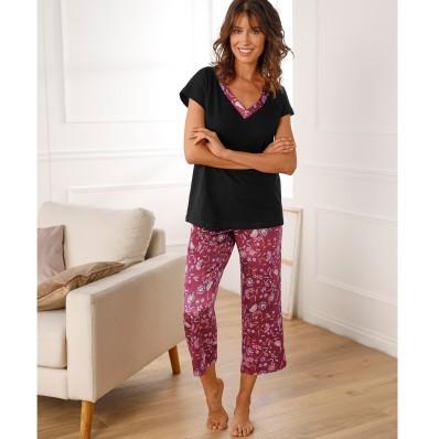 Pyžamo s krátkými rukávy, z jednobarevné bavlny a saténu s potiskem