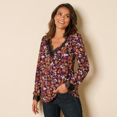 Tričko s potlačou kvetín a zvlnenou čipkou