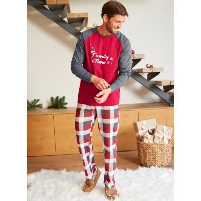 Pánske pyžamo s vianočným motívom a dlhými rukávmi