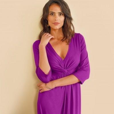 Jednobarevné dlouhé šaty s uzlem a 3/4 rukávy