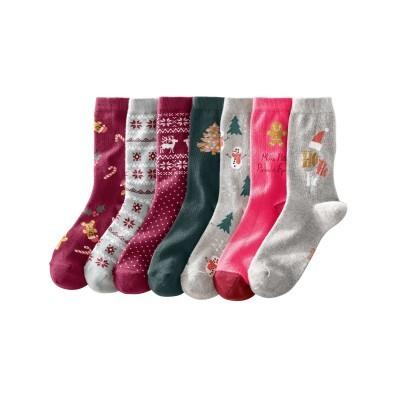 Sada 7 párů ponožek s vánočním motivem