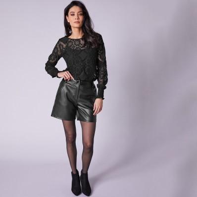 Koženkové šortky (1) s odnímatelným pasem