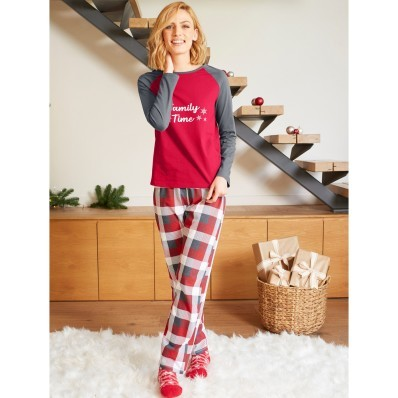 Dámske pyžamo s vianočným motívom a dlhými rukávmi