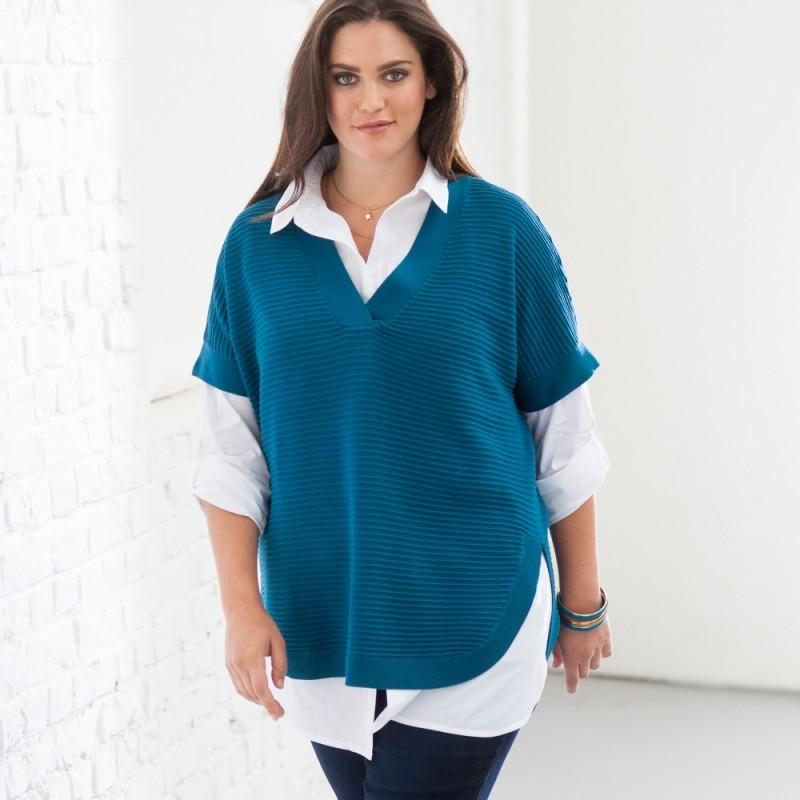 Hedvábný svetr s kulatým výstřihem