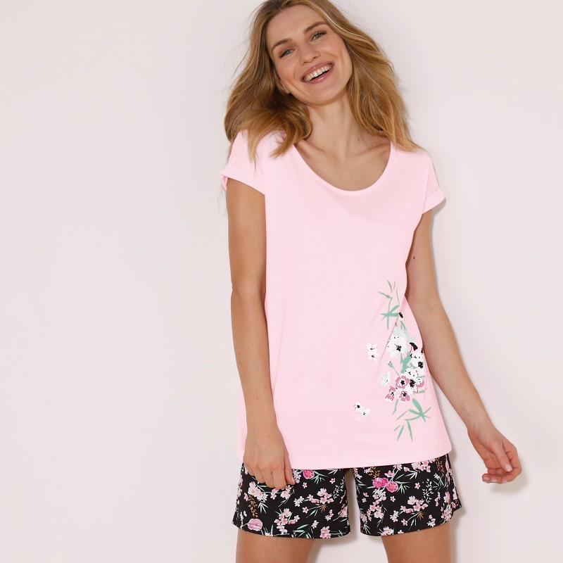 Pyžamové tričko se středovým potiskem květin