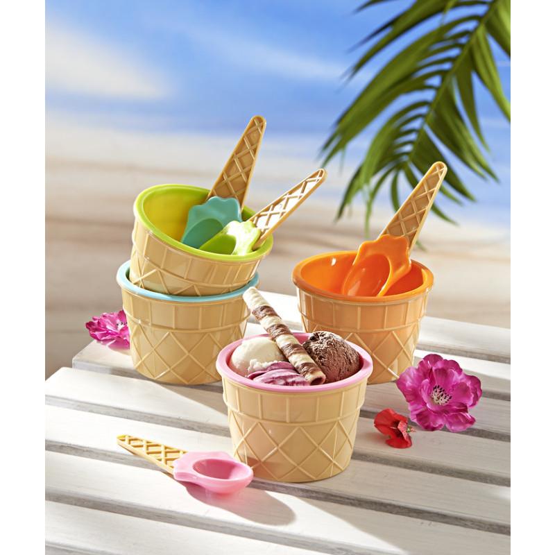 4 zmrzlinové poháry + 4 lžičky onerror=