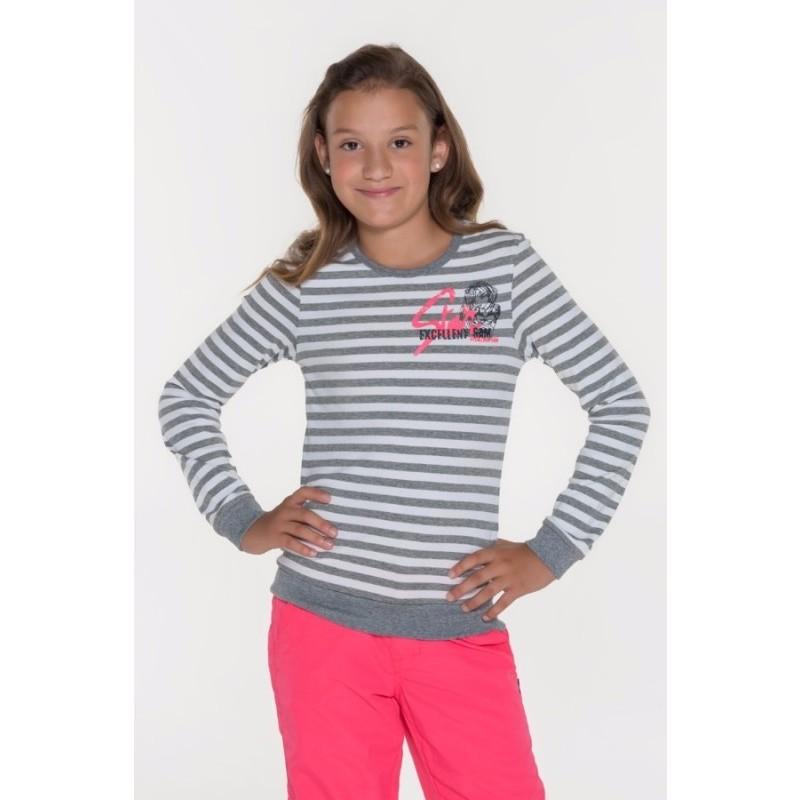 Dívčí pruhované triko s dlouhým rukávem Sam 73