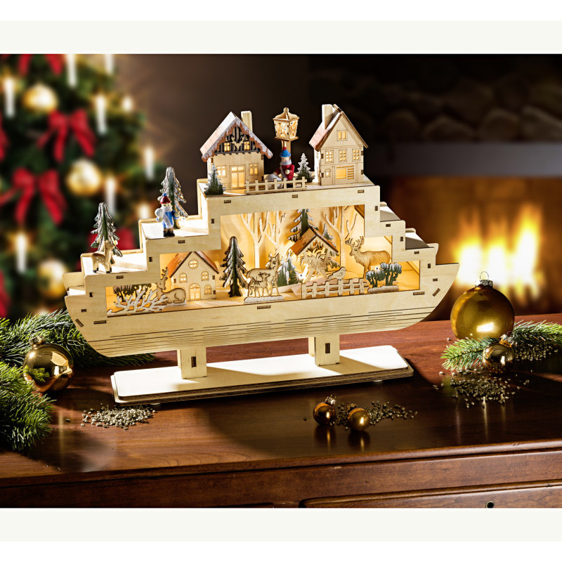 LED vianočná loď