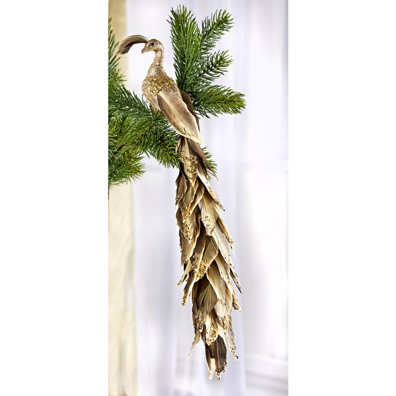 Dekorativní páv ve zlaté barvě onerror=