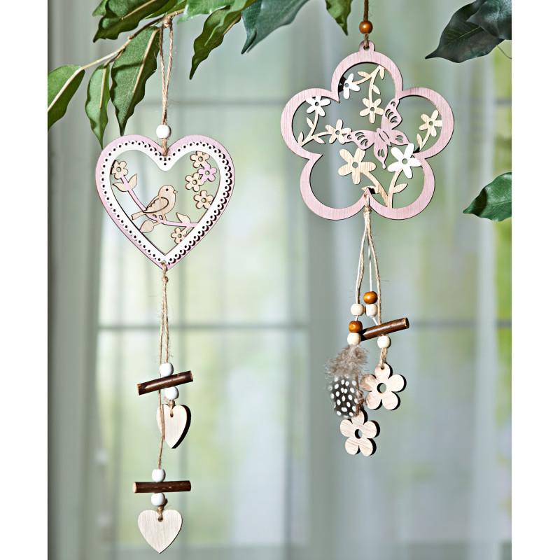 Závěsná dekorace srdce s ptáčkem onerror=