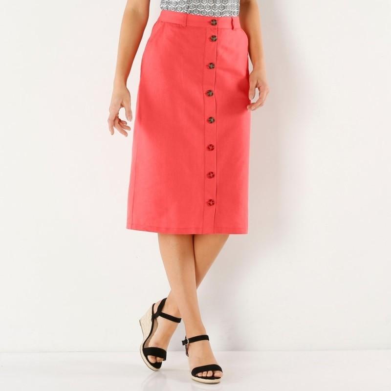 Rovná sukňa na gombíky