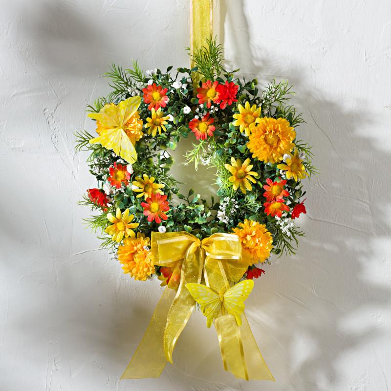 Květinový věnec s motýly onerror=