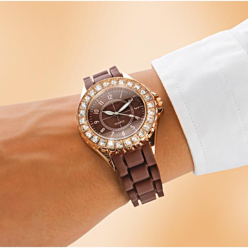Dámske náramkové hodinky, medená