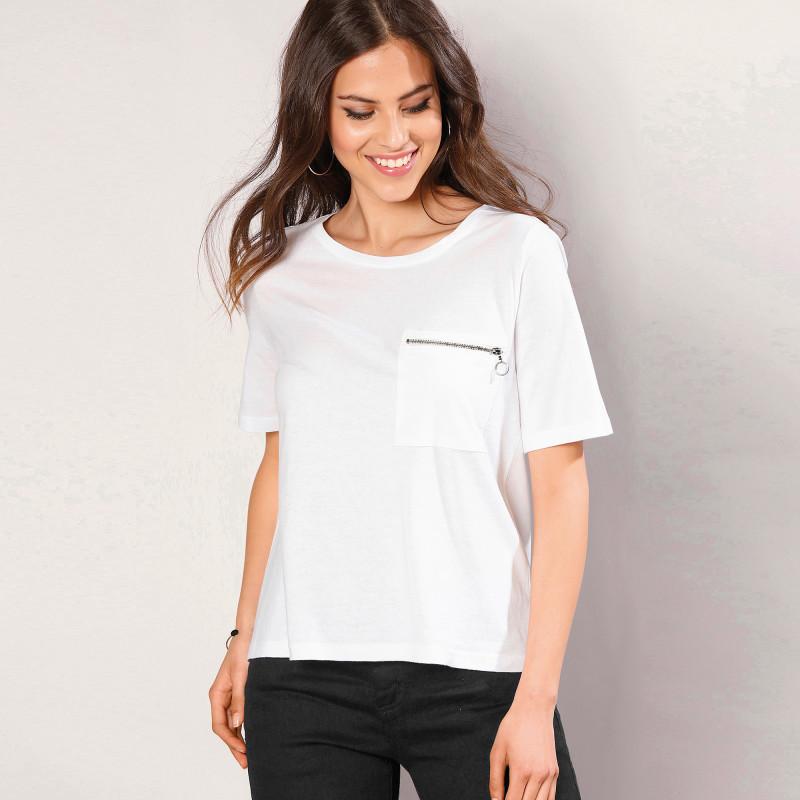 Tričko s rukávmi po lakte a zipsovou kap