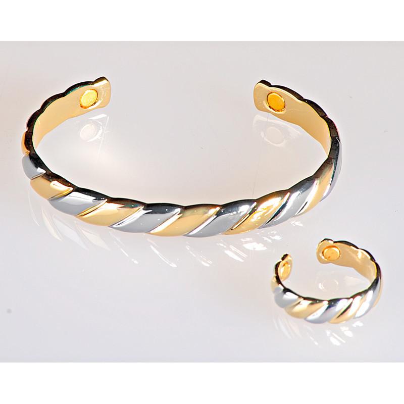Magnetický náramek zlaté a stříbrné barvy onerror=
