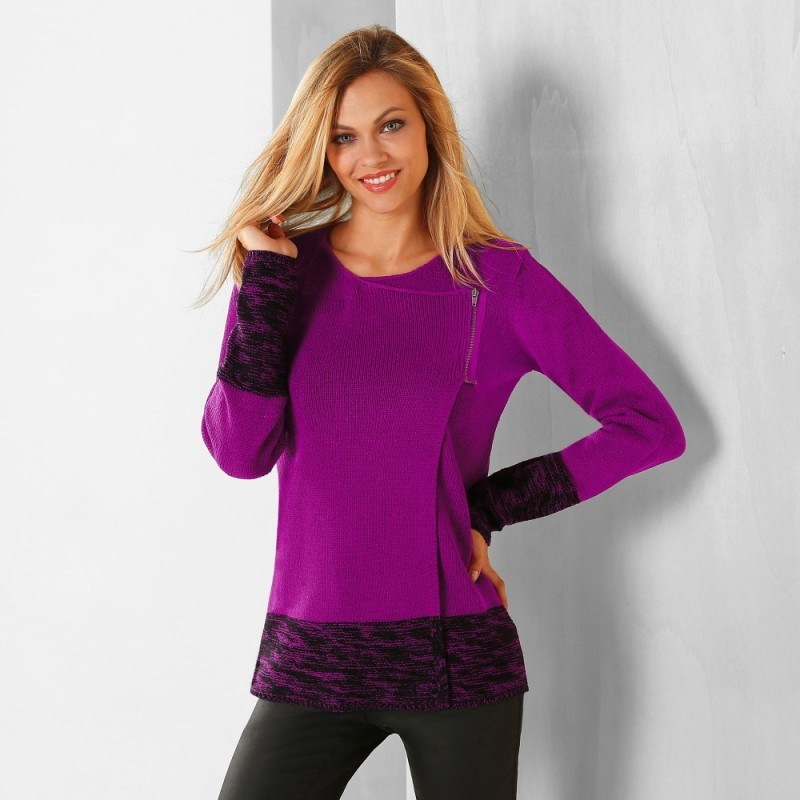 Dvojfarebný sveter paleto