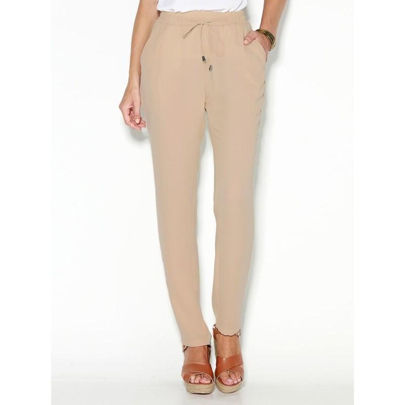Jednobarevné kalhoty s pružným pasem