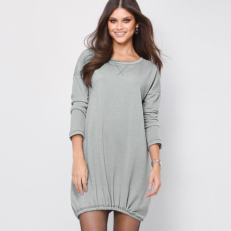 Meltonové šaty s lurexovým vláknom