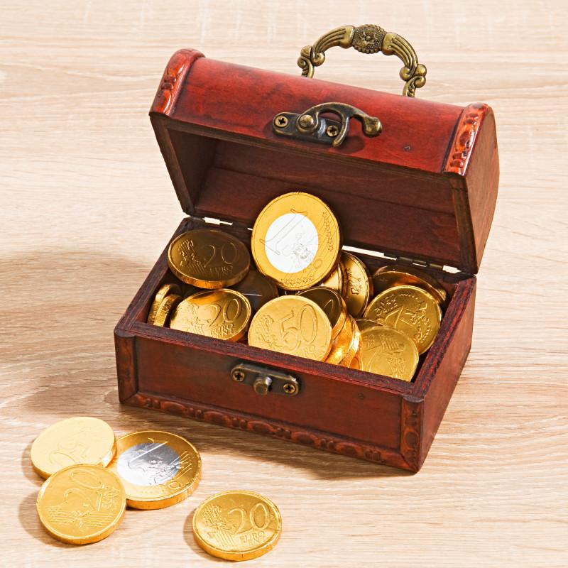 Pokladnice s čokoládovými mincemi onerror=