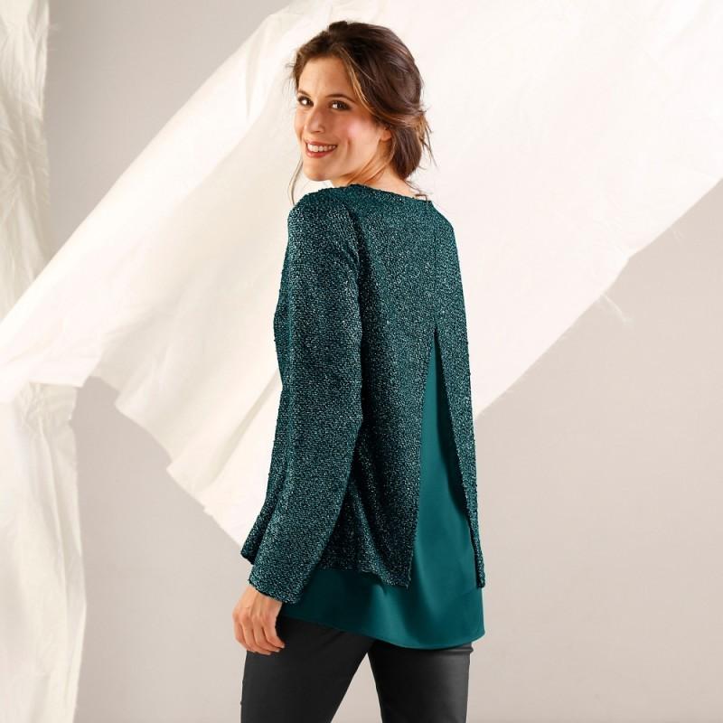Třpytivý pulovr s efektem 2 v 1