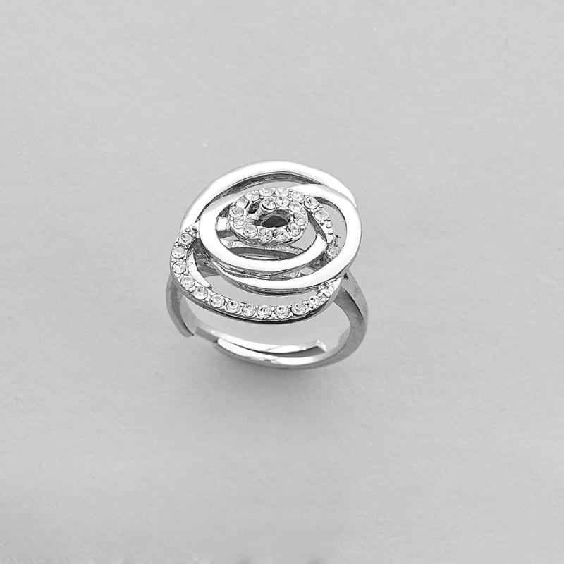 Nastaviteľný prsteň motív kvet, krištáľ Swarovski a striebro