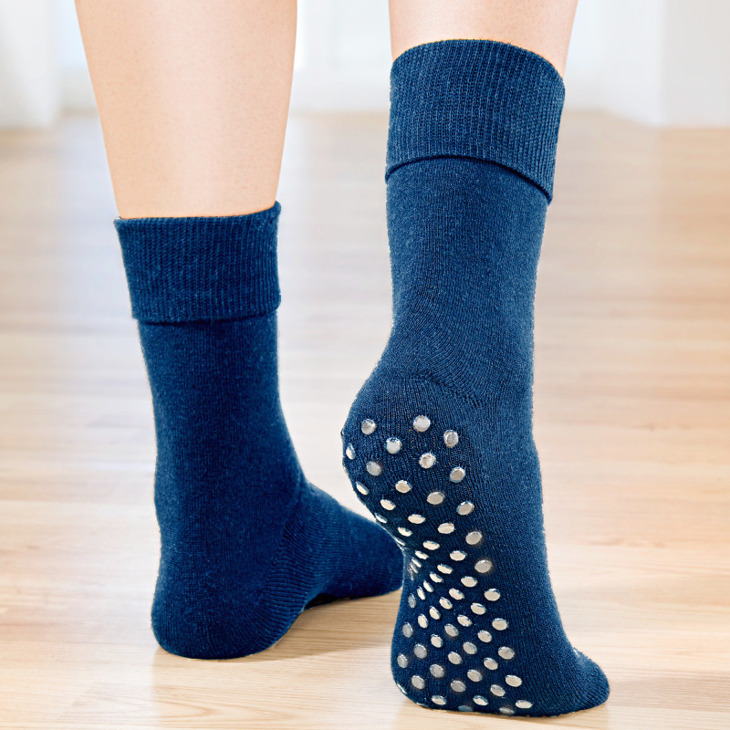 1 pár protišmykových ponožiek, tmavomodrá