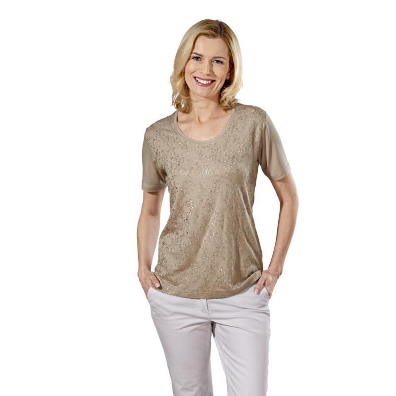 Vyšívané tričko, béžová