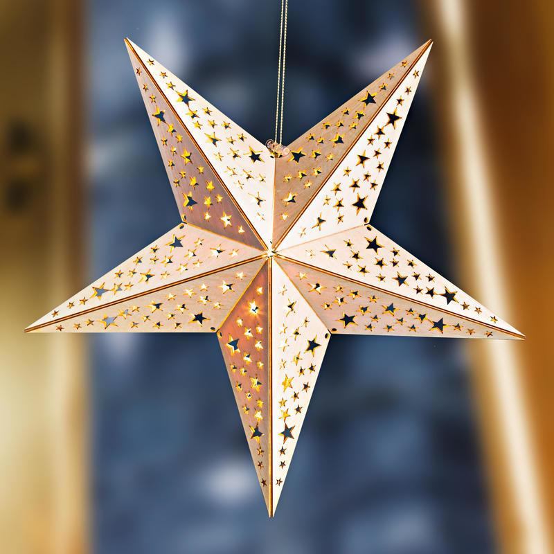 Vánoční LED dřevěná hvězda onerror=